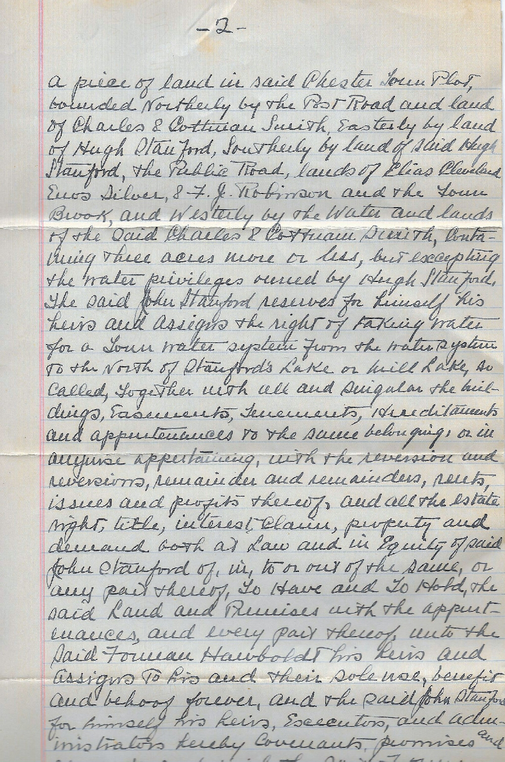 A hand written second page scanned from the deed conveying the land for the foundry and house lot to Forman Hawboldt his heirs and assigns.
