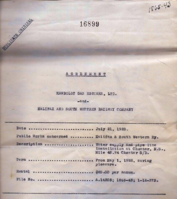 A copy of the agreement between Hawboldt Gas Engines and the Halifax and Southwestern Railway Company to provide water beginning May 1, 1928 at a rental fee of $35.00 per annum.