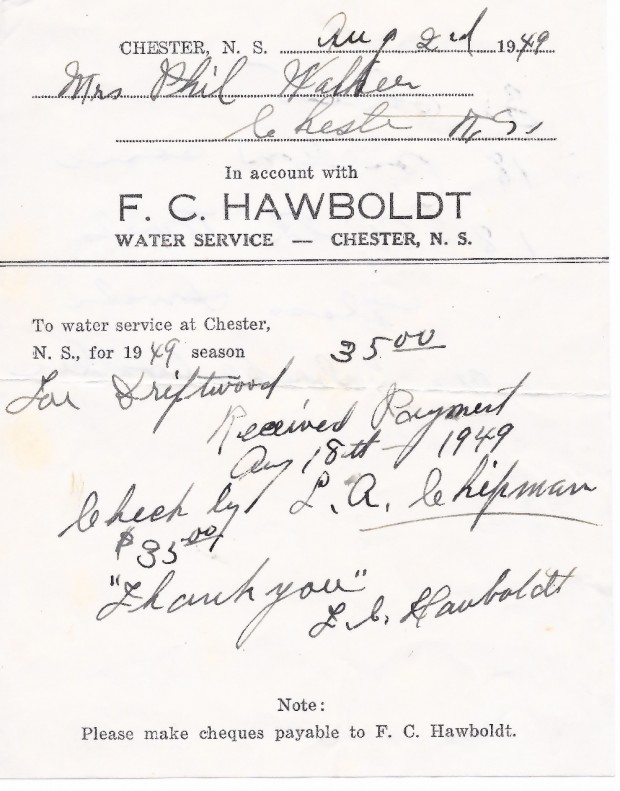 A bill from Forman Hawboldt, to Phil Walker, for water service for the 1949 season in the amount of $35.00. Receipted by Forman Hawboldt