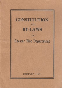 A small booklet cover in light brown with black lettering saying Constitution and Bylaws of Chester Fire Department. This was the original constitution and bylaws circa 1937.