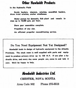 -ad for Hawboldt products and also offering to design for other customers