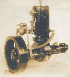 A Hawboldt make and break engine with a fly wheel and one cylinder developed in 1906 by Forman Hawboldt. This engine was developed in the first workshop behind his house on Queen Street in Chester in 1906.
