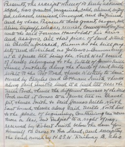A hand written first page scanned from the deed conveying the land for the foundry and house lot to Forman Hawboldt his heirs and assigns. This describes in detail the lots for both the house lot and the foundry lands.