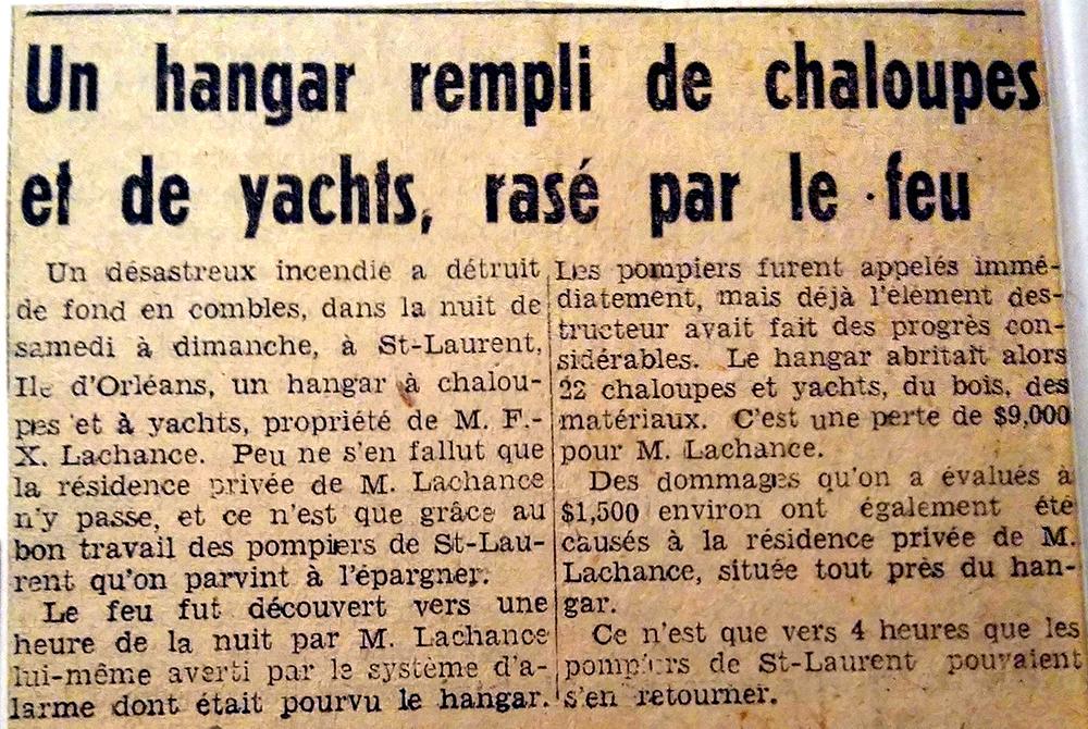 Digitization of a newspaper article entitled « Un hangar rempli de chaloupes et de yachts, rasé par le feu » (