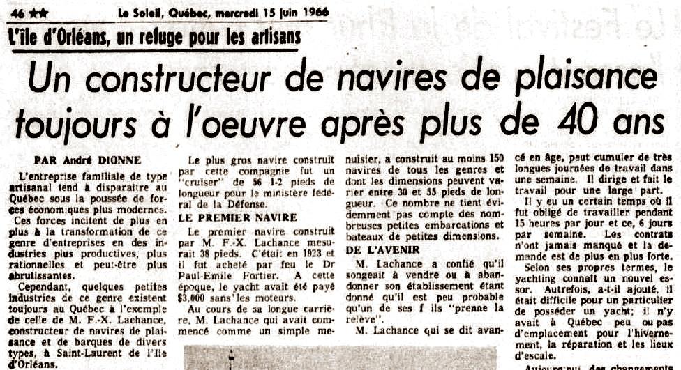 Digitization of a newspaper article entitled « Un constructeur de navires de plaisance toujours à l'œuvre après plus de 40 ans » (