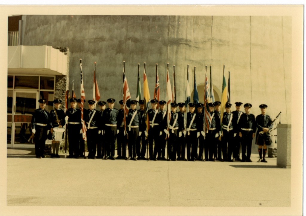 Calgary Fire Honour Guard at the base of the Husky Tower (no date) (colour version)