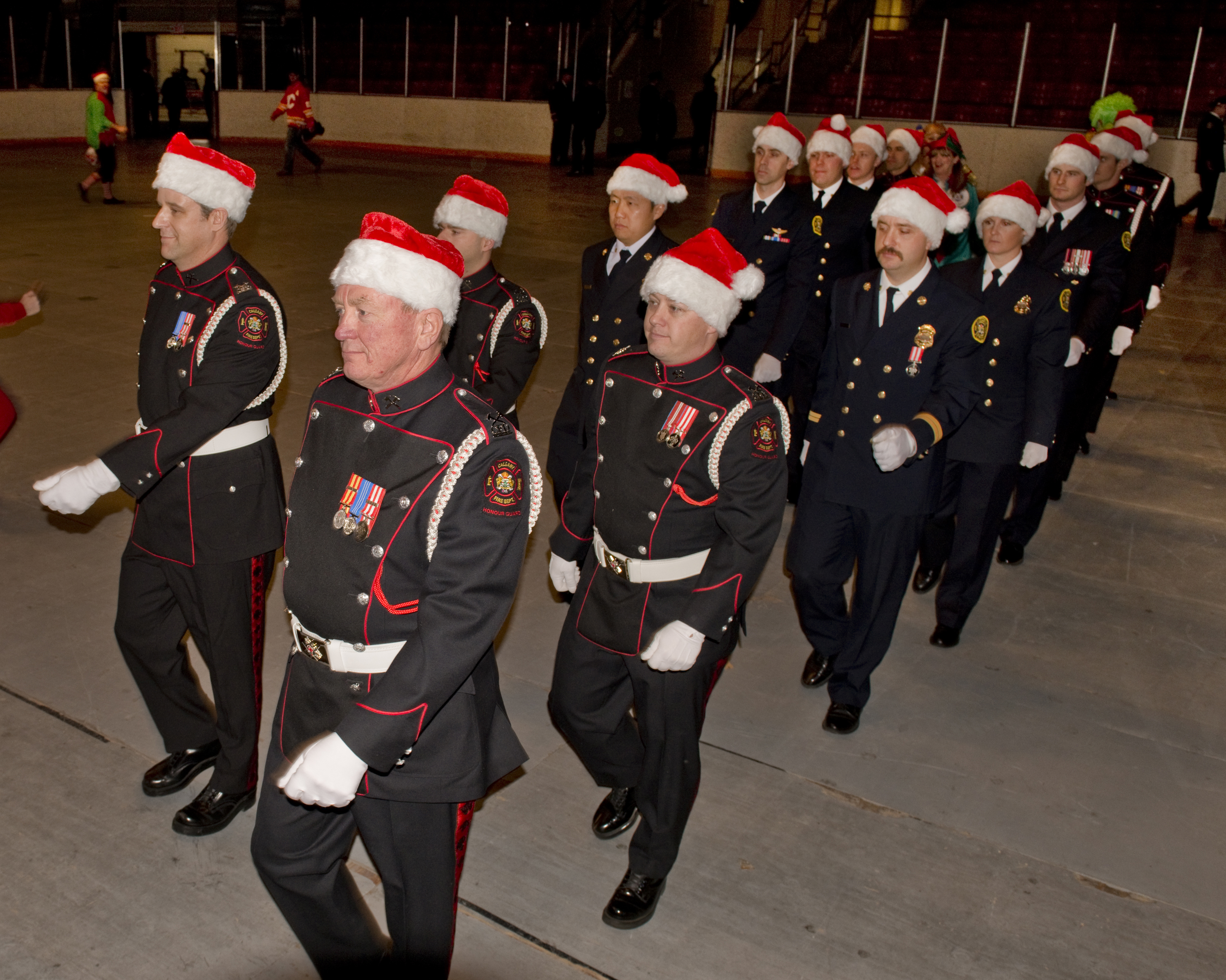Honour Guard lead a march of uniformed members at Kids Christmas Party 2015