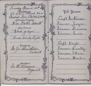 Memorial booklet for the funeral of Hugh McShane in 1923, outlining the order of proceedings in handwriting.