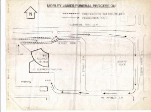 Map, showing the route of Morley James' funeral procession beginning at First Alliance Church, going along Glenmore trail, turning right onto Elbow Drive, right onto 68 avenue, and back to the church.