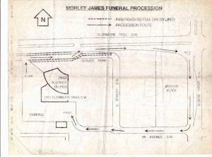 Plan de l'itinéraire emprunté par le cortège funèbre de Morley James, commençant à l'église First Alliance, puis descendant Glenmore Trail, tournant à droite sur Elbow Drive, à droite sur la 68e Avenue et de retour à l'église
