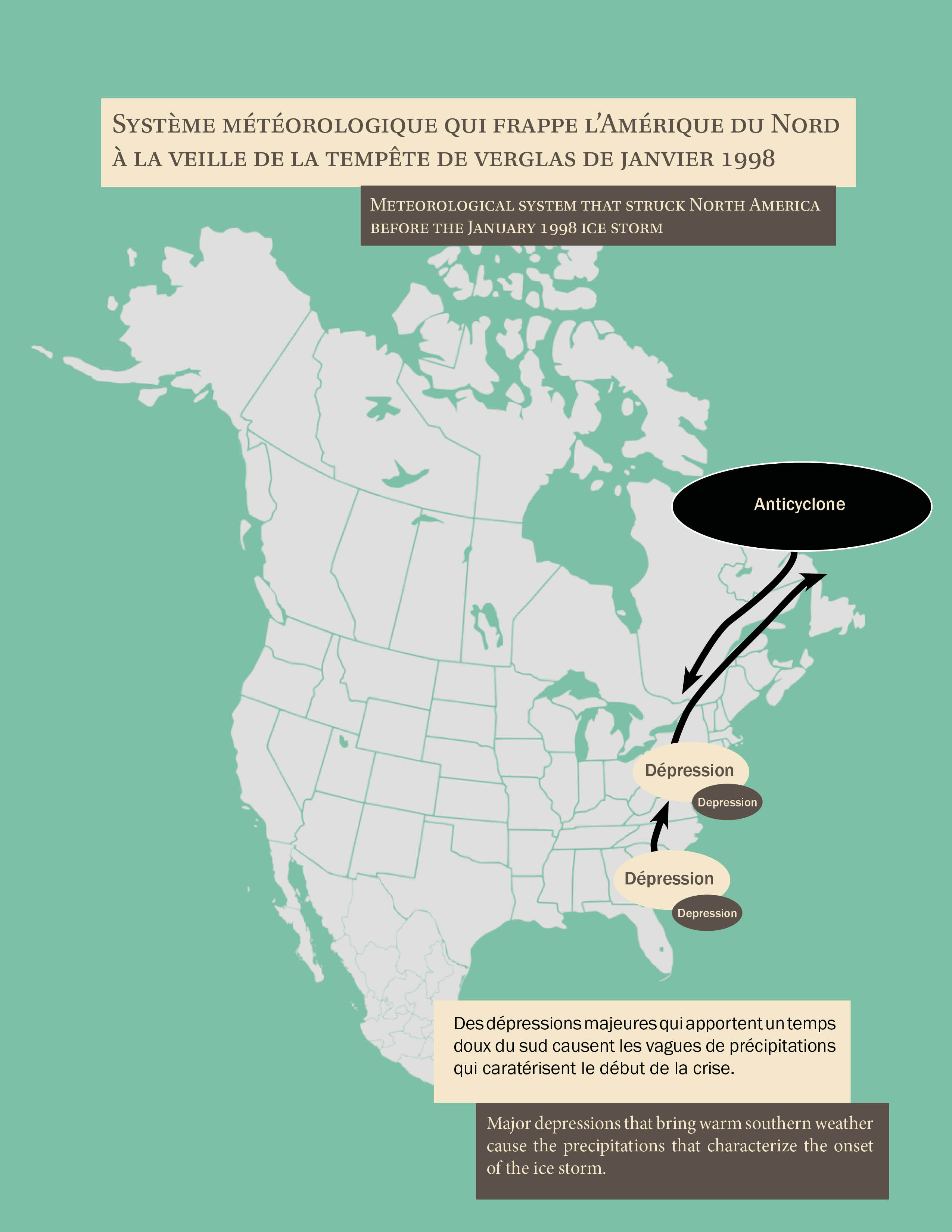 Carte qui montre le système météorologique qui frappe l'Amérique du Nord et qui cause la crise de verglas