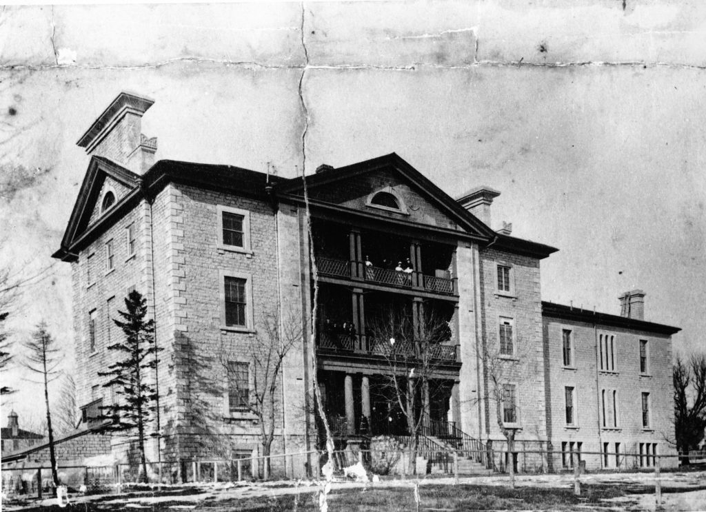 Photograph of KGH as it would have appeared in 1867 with the new Watkins Wing