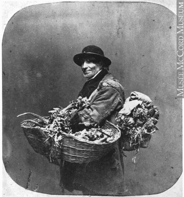 Period image of a man with a large roll of dried herbs on his back and a large basket of herbs on his arm circa 1859