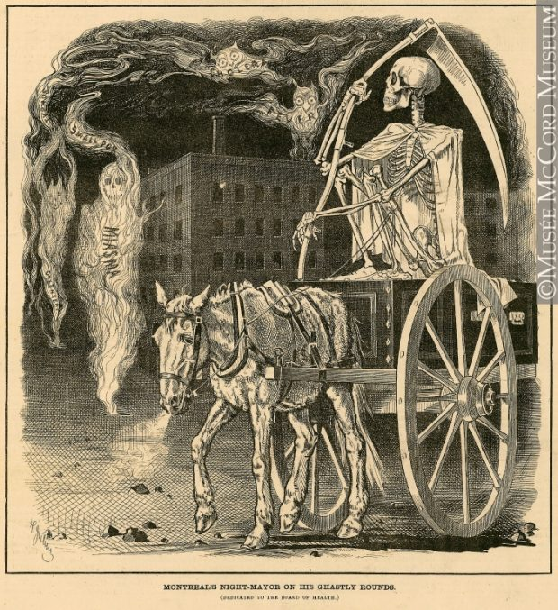 Period print of the Grim Reaper on a horse-drawn cart in the streets of Montreal, overlooking the vapours (miasma) containing inscriptions of dysentery, typhoid, smallpox, cholera and fever