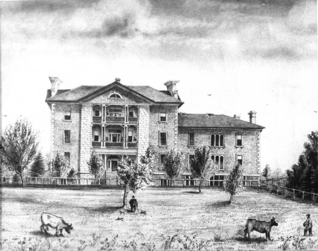 Period drawing of KGH and the Watkins Wing addition in the 1860s, depicting a large front grounds with trees, two cows, and two people