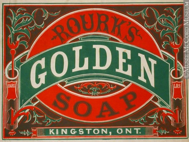 Logo of Rourk's Golden Soap indicating that it is made in Kingston, Ontario.