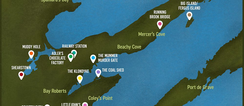 An illustrated map of Bay Roberts.
