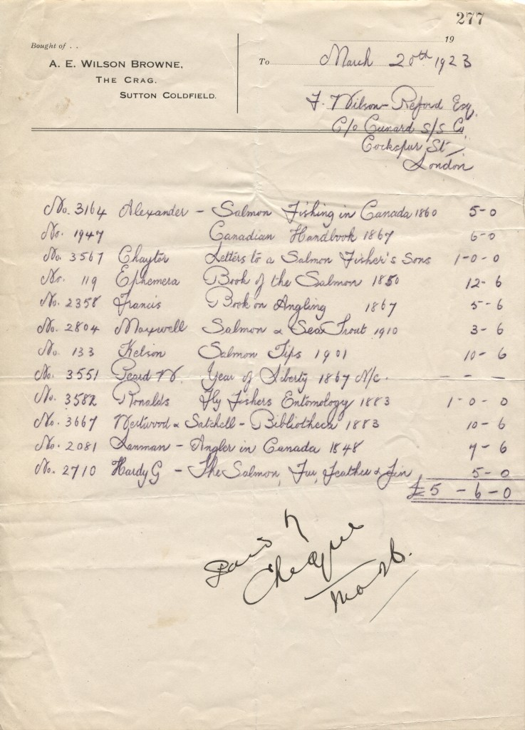 Hand written invoice from 1923 for 12 fishing books from A. E. Wilson Browne to Robert Wilson Reford
