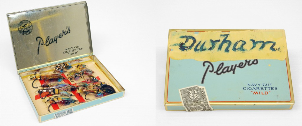 Old tin cigarette boxes use to organize and store fishing flies.