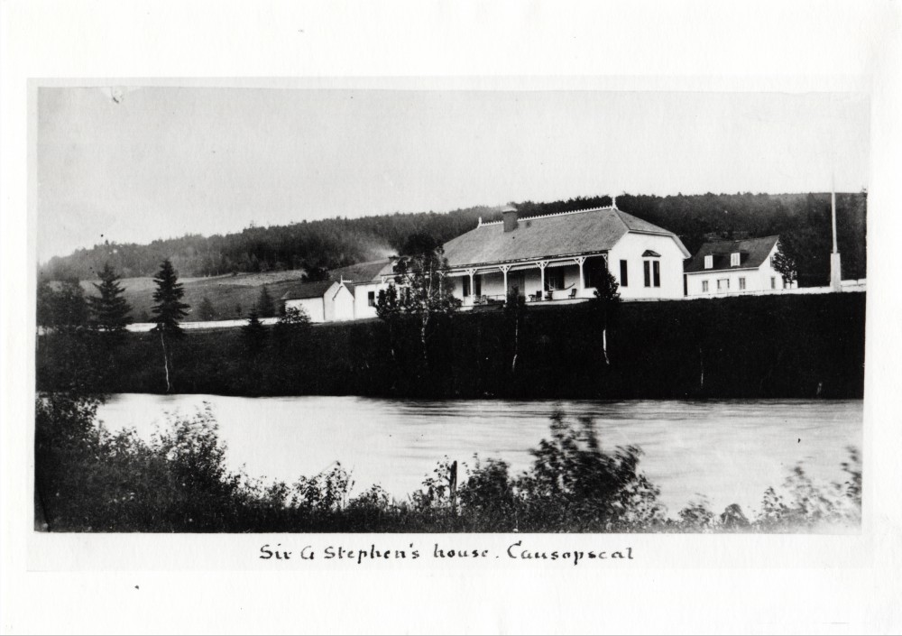 Silver print of Sir George Stephen's Fishing Camp and the Matapedia river at Causapscal.