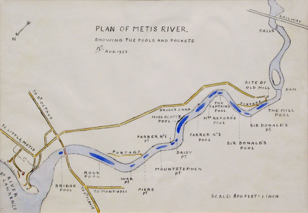Lady Aileen Roberts draw by hand map, illustrating each of the pools of the Metis river, from the mouth to the falls.