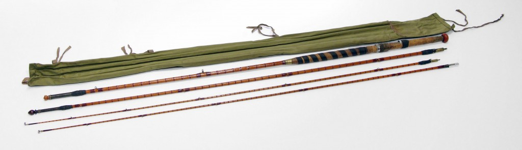 16-foot Bamboo fishing rod made by Hardy Bros, crafted and tuned to allow for the right weight and balance, reinforced by being wrapped with fine string.