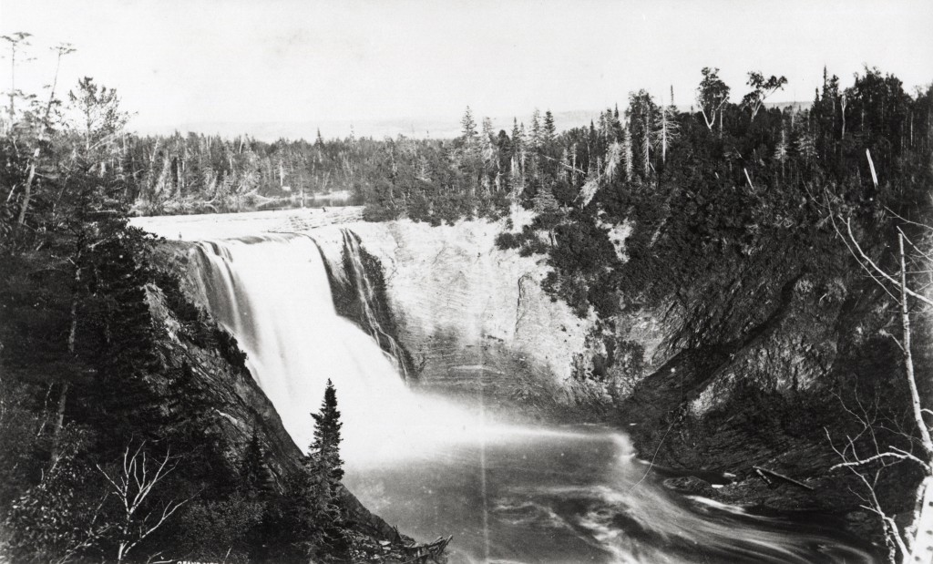 Silver print of the falls on the Metis River by Alexander Henderson.
