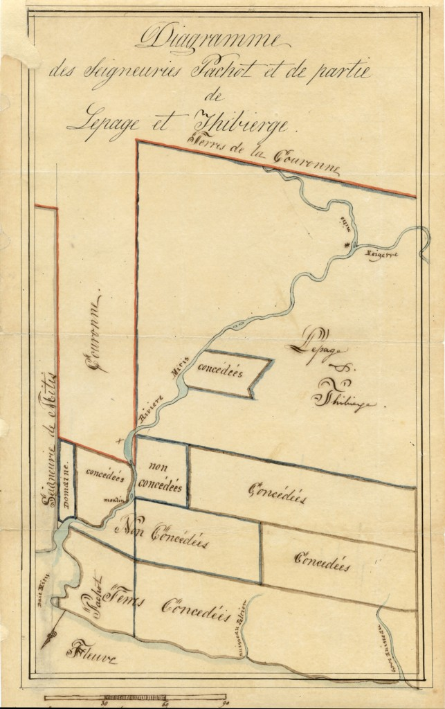 This 1829 map shows the three seigneuries that were granted by the French Regime along the Metis River - The seigneurie de Mitis ou de Pieras, the Seigneurie Pachot, and the Seigneurie Lepage and Thibierge.