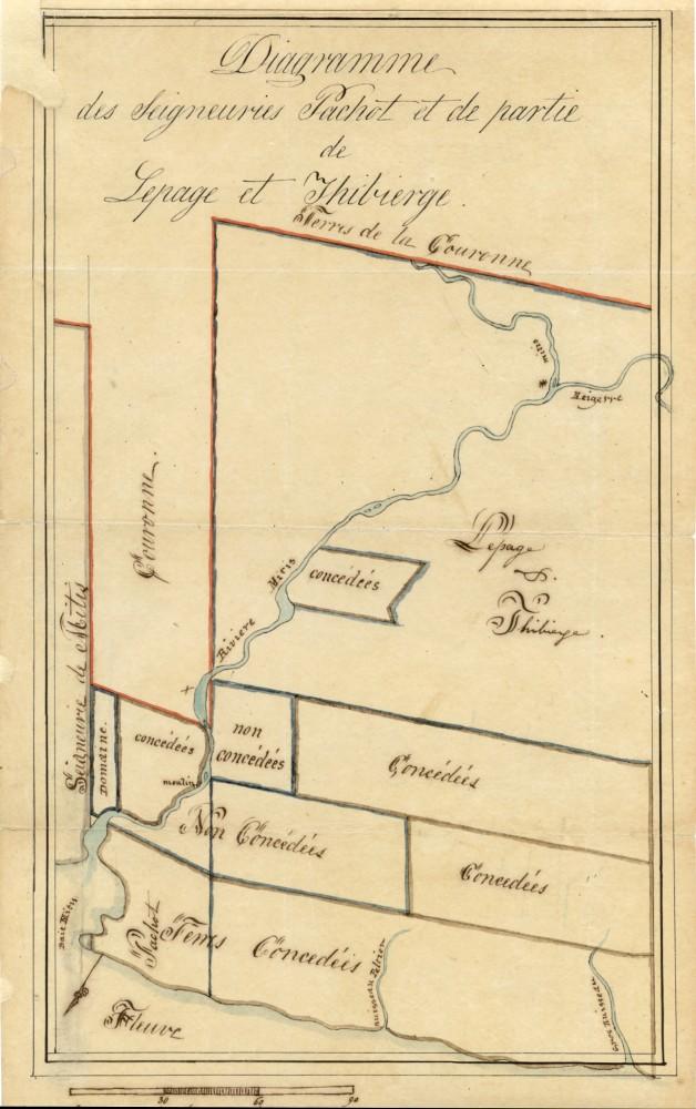 Carte de 1829 montrant les trois seigneuries concédées le long de la rivière Mitis durant le régime français - La Seigneurie de Mitis ou de Piera, la Seigneurie Pachot et la Seigneurie Lepage et Thibierge.