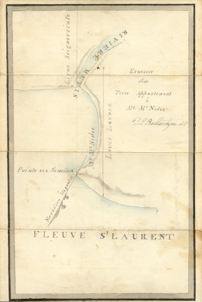 This surveyor's hand draw map shows the limits of the property when it was owned by John MacNider