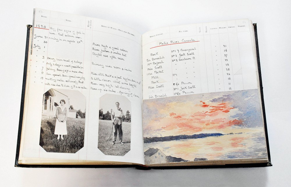 Elsie Reford's fishing book, open at a page showing handwritten salmon fishing records, black and white portraits of a man and woman, and a watercolour of the Métis at either sunset or dawn.