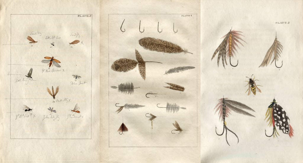 Print plates of various fishing flies, flies and feathers from a 1816 book, that were used by fly fishermen.