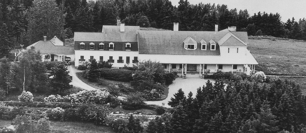 Aerial view of the Estevan Lodge during the 1940s
