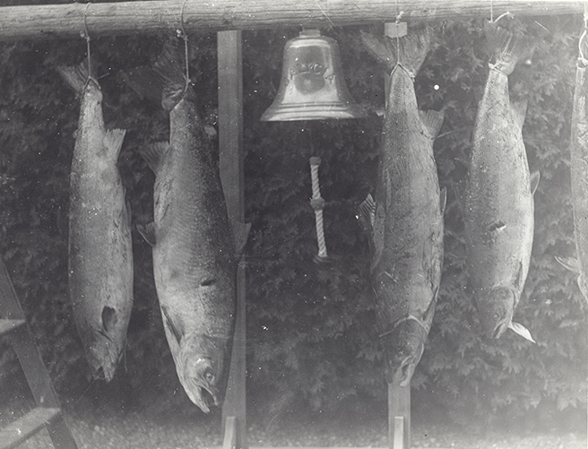 Silver print of four fish suspend on the bell in the front of Estevan Lodge