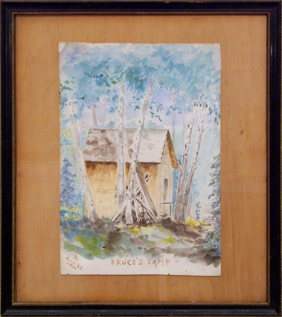 Watercolour of Robert Wilson Reford of Bruce's Camp. It's a simple camp made of spruce beams and clothed in cedar shingles, on the bank of the Metis River.