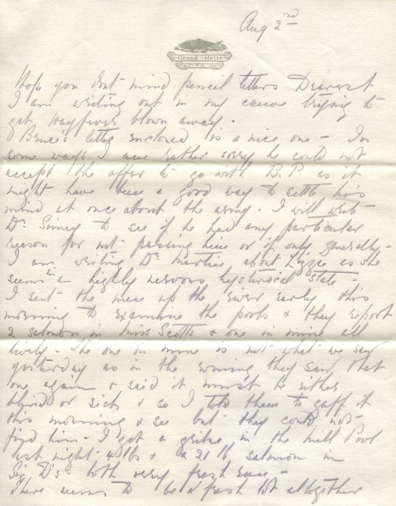 Extract of a letter from Elsie Reford to her husband Robert Wilson Reford about her success fishing on the Metis River.