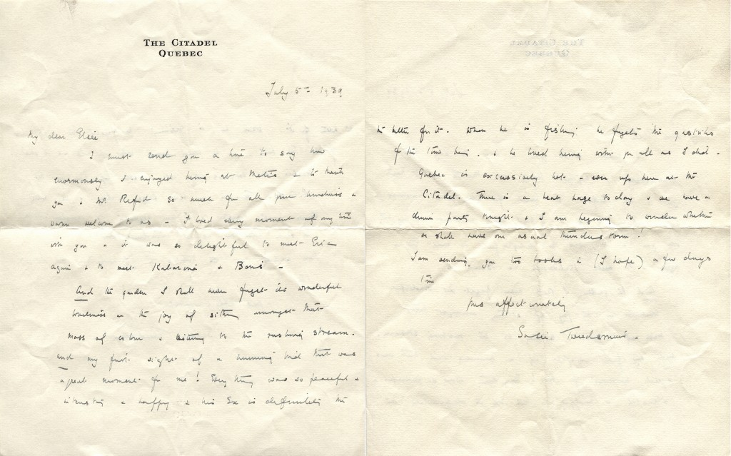 Hand written letter dated of july 5th 1939, written by the wife of Governeur General of Canada Lord Tweedsmuir, Susie Tweedsmuir