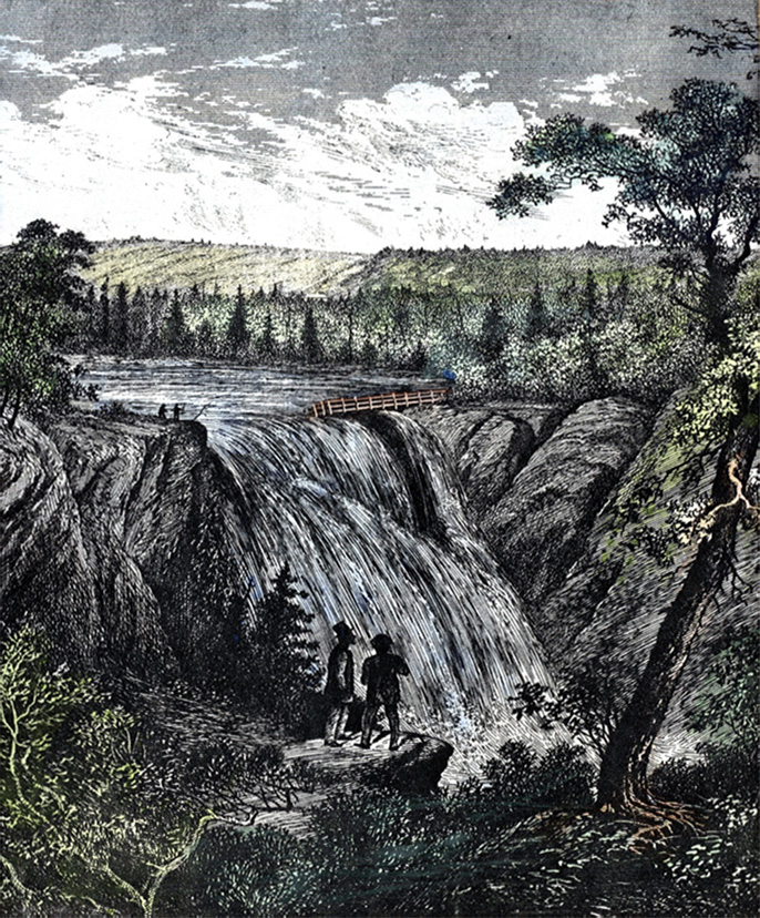 Lithography of a bucolic landscape in which two characters observe the Mitis River Falls from the top of a rock on the left side of the river.