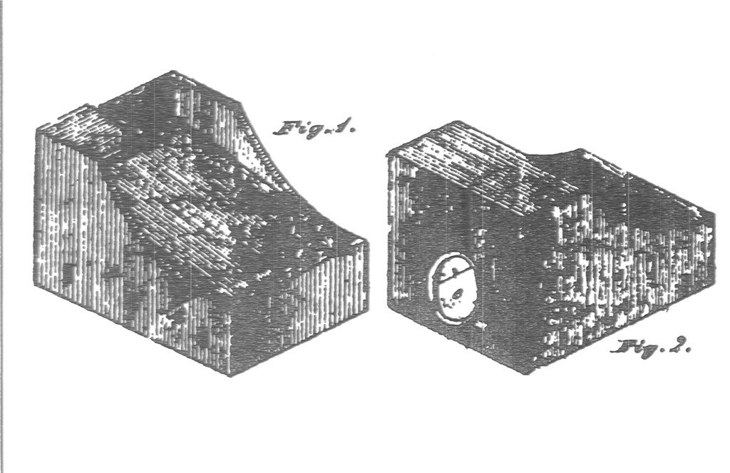 Black and white image of a drawing of two figures, one viewed from the front, the other from the back, of a device with an opening and a raised front end.