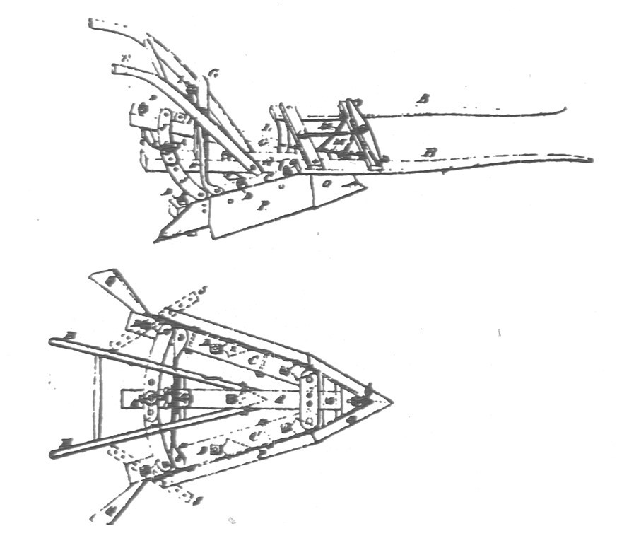 Black and white image of a two-figure drawing of a multifunctional agricultural implement. One figure shows the entire tool; the other, just one part. The parts are identified by letters.