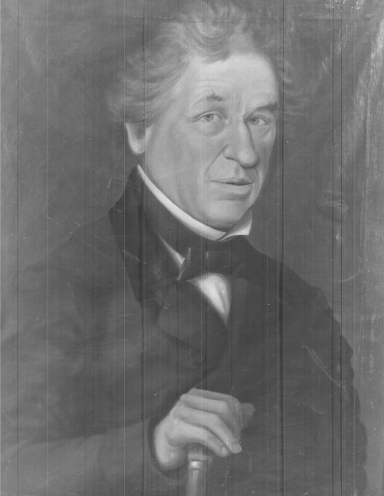 Black and white painted portrait of Marcus Child leaning on a walking stick, dressed in a black smoking jacket with a black bow tie.