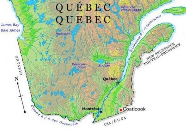 Colour photograph of a map that shows the location of Coaticook within the province of Quebec.