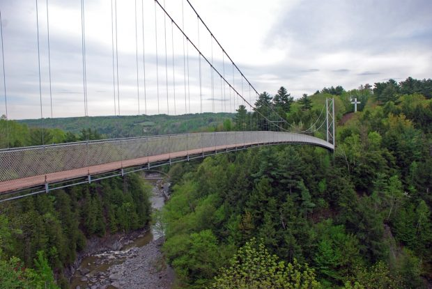 Colour photograph of the suspension bridge in a green forested setting, with the Gorge underneath.