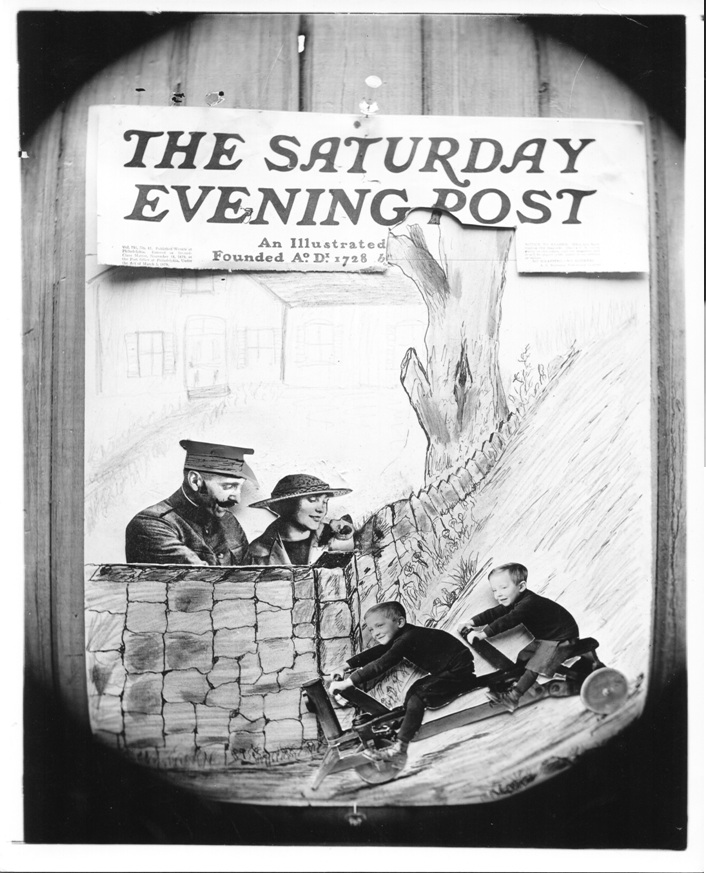 Black and white engraving of an advertisement for the cover of the Saturday Evening Post magazine, with two children driving a cart invented by Frank Sleeper, while a man in a military uniform and a woman wearing a hat look on.