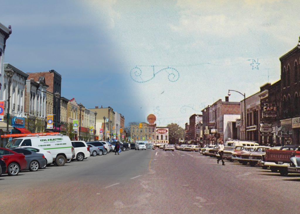 On the left a modern streetcape, on the right a historic image of the same streetscape.