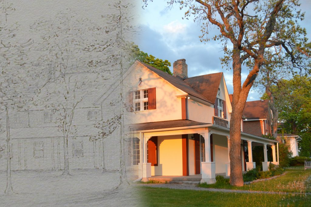 On the left a sketch of a house; on the right a contemporary photograph of the same building.
