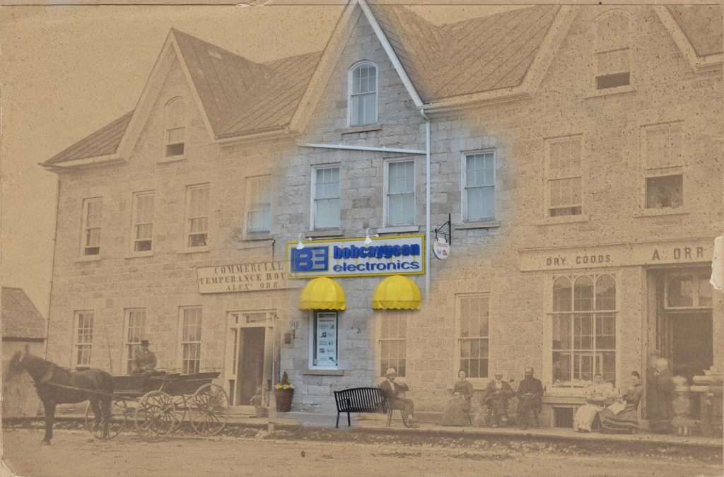 Contemporary photograph of an electronics store superimposed on a B&W image of hotel.