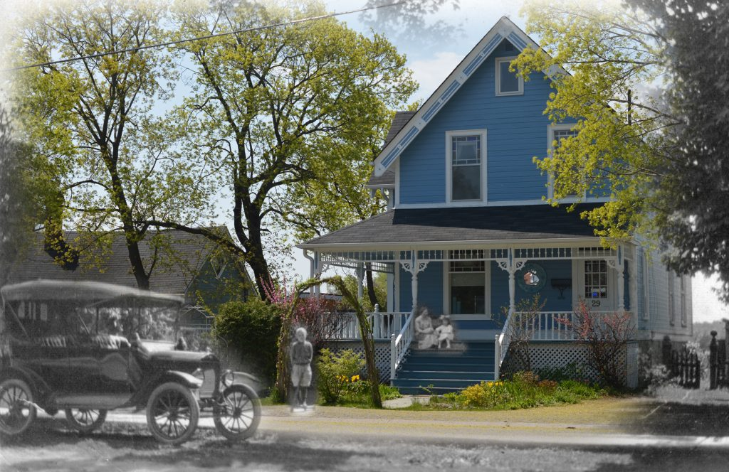 A black and white photograph of an automobile superimposed on a modern photograph of a bed & breakfast.