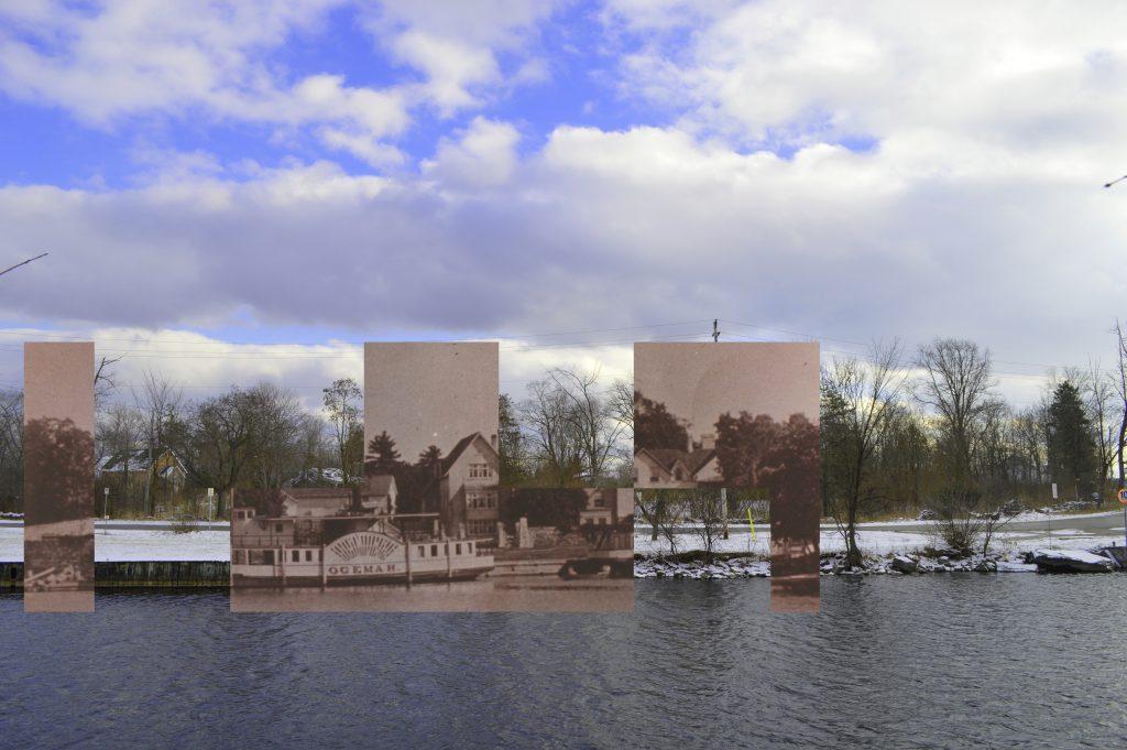 une photo en noir et blanc illustrant un bateau à vapeur et une grande maison, superposée à une image contemporaine d'un terrain vacant.