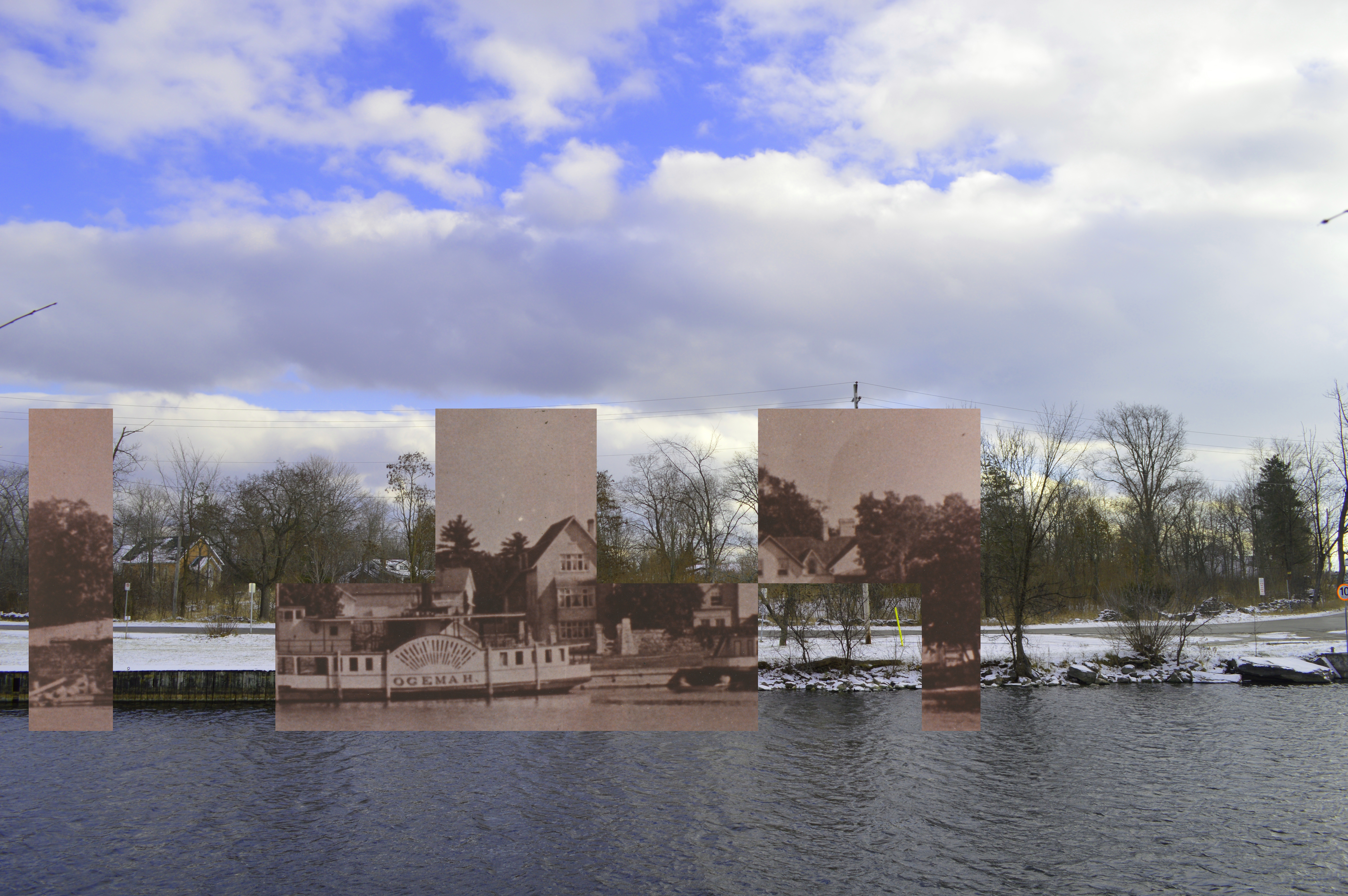 A black and white photograph of a steamboat and a large house superimposed on a contemporary photograph of a vacant lot.